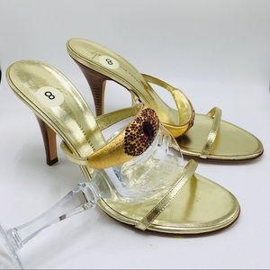 Giuseppe Zanotti gold crystal heel mule 8 slides